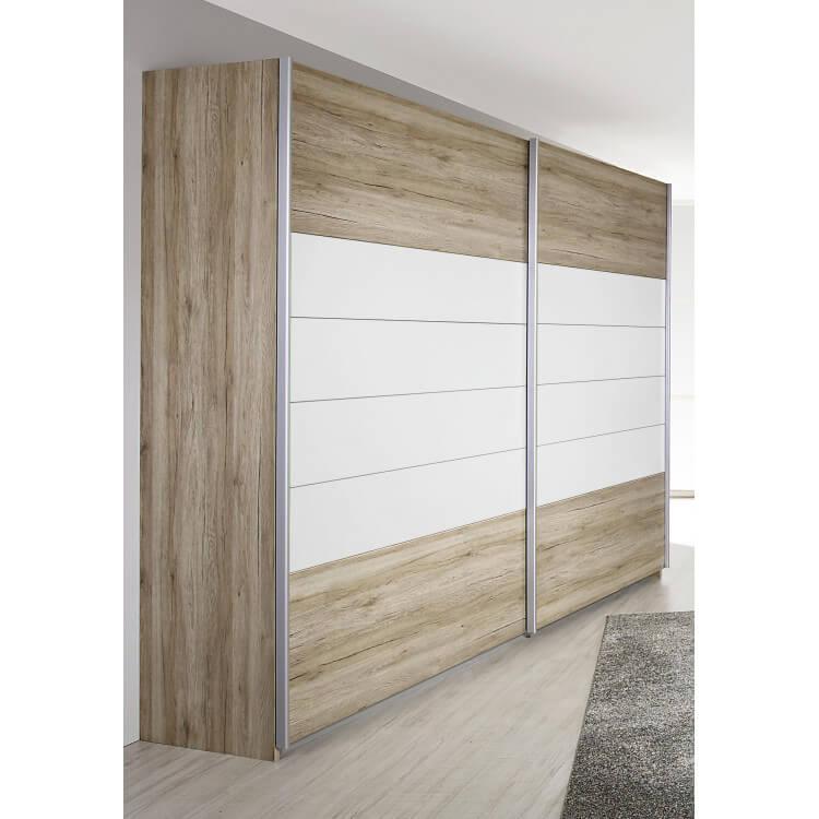Armoire contemporaine 2 portes coulissantes coloris chêne clair/blanc Barcia