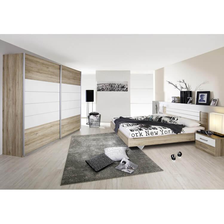 Chambre adulte contemporaine coloris chêne clair/blanc Barcia
