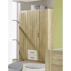 Armoire contemporaine 3 portes/2 tiroirs coloris chêne clair/blanc Ronco