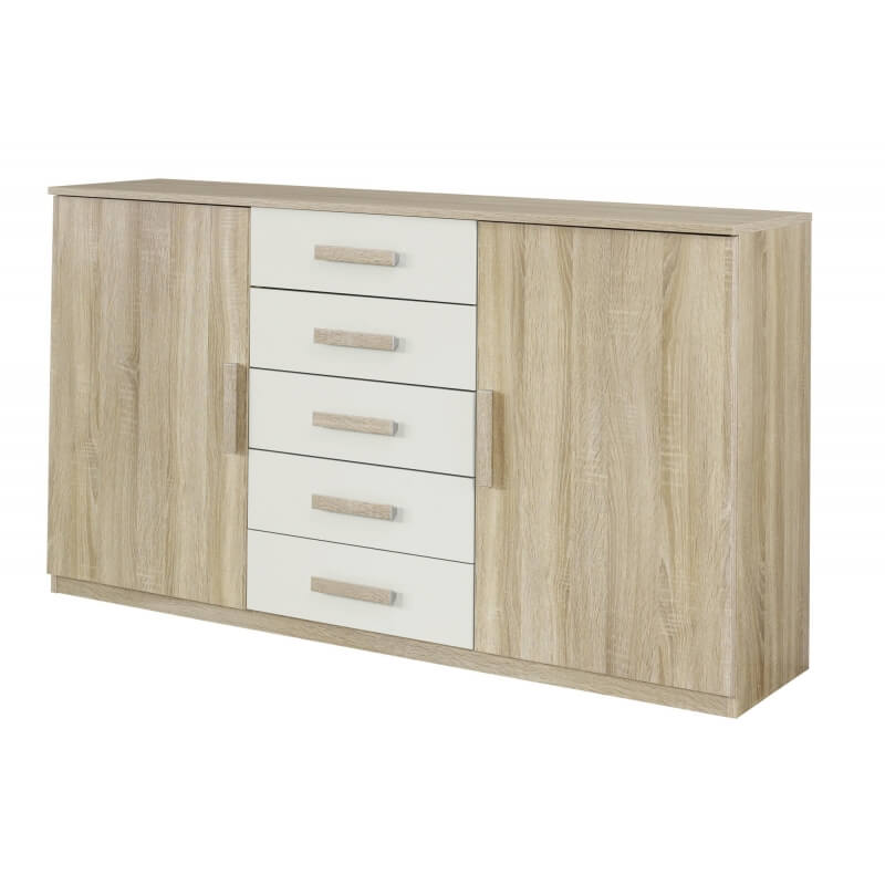 commode contemporaine 2 portes 5 tiroirs ch ne clair blanc clermont. Black Bedroom Furniture Sets. Home Design Ideas