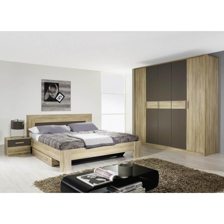 chambre adulte contemporaine ch ne clair gris fairmont matelpro. Black Bedroom Furniture Sets. Home Design Ideas