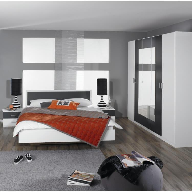 Chambre adulte design blanche et grise Selenia