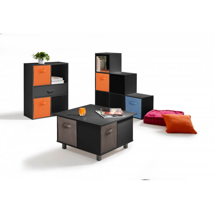 etag re contemporaine 4 casiers 1 tiroir coloris noir module matelpro. Black Bedroom Furniture Sets. Home Design Ideas