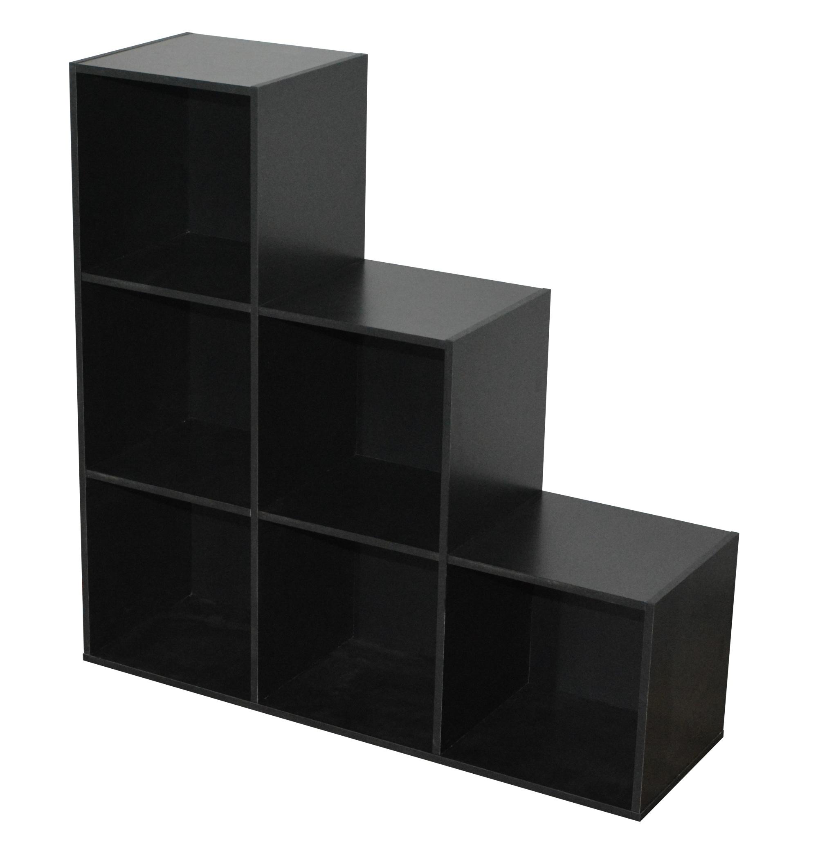 Etagère escalier contemporaine 6 casiers coloris noir Module