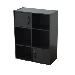 Etagère contemporaine 4 casiers/2 portes coloris noir Module