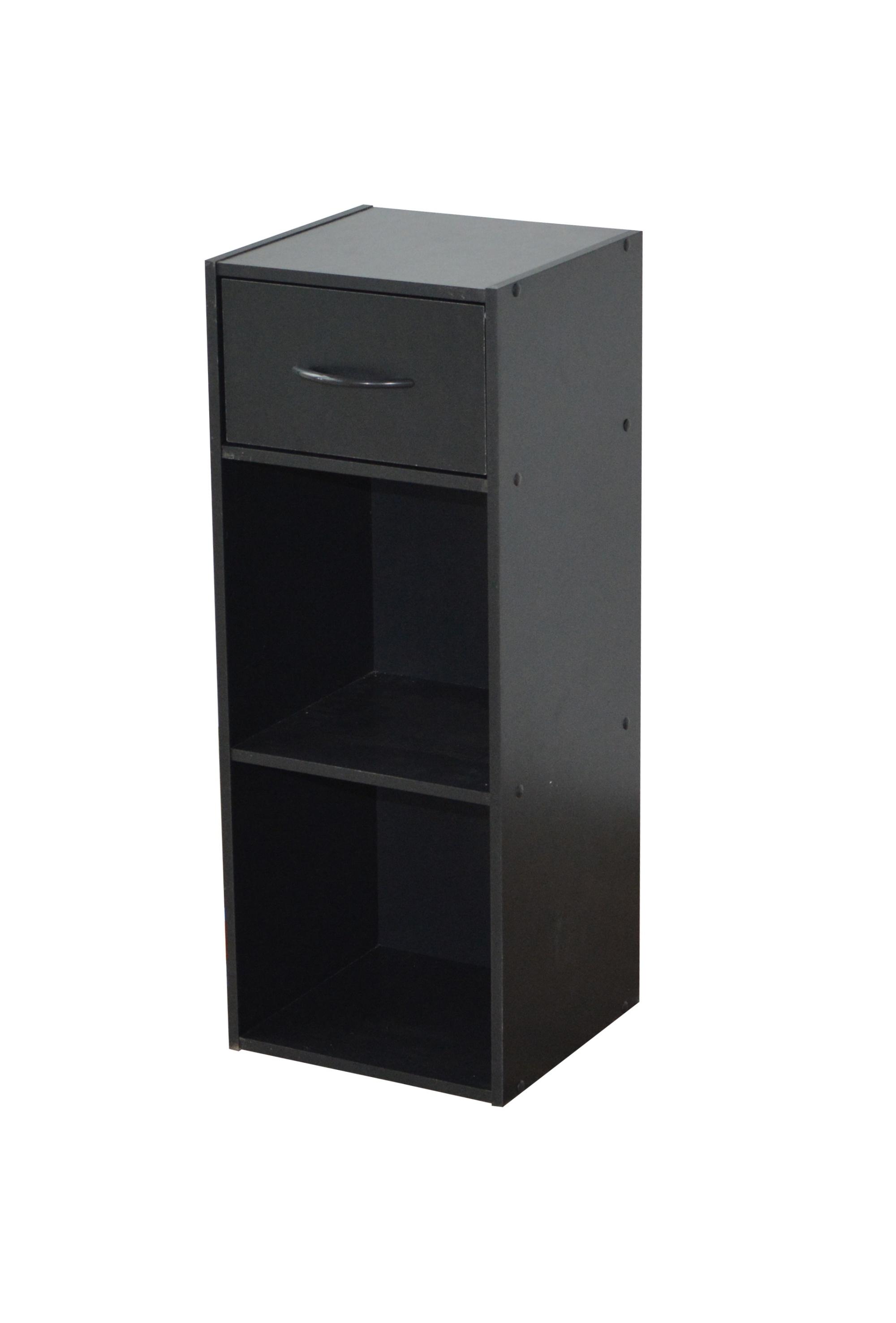 Etagère contemporaine 2 casiers/1 tiroir coloris noir Module