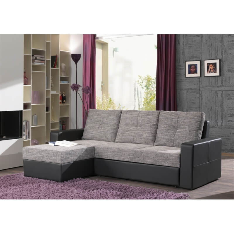 canap d 39 angle convertible contemporain en tissu gris noir cassis. Black Bedroom Furniture Sets. Home Design Ideas