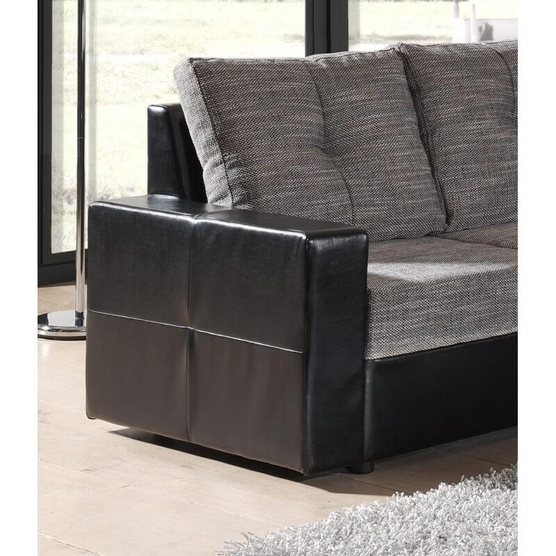 Canap d 39 angle convertible contemporain en tissu noir gris - Canape d angle contemporain ...
