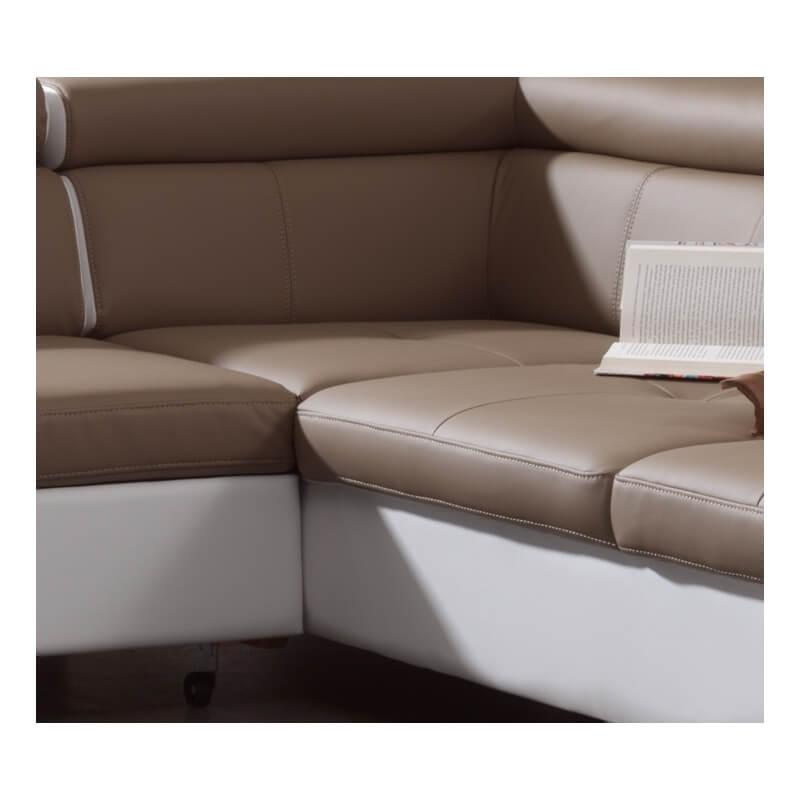Canap d 39 angle design convertible coloris blanc taupe kanto - Canape d angle convertible taupe ...