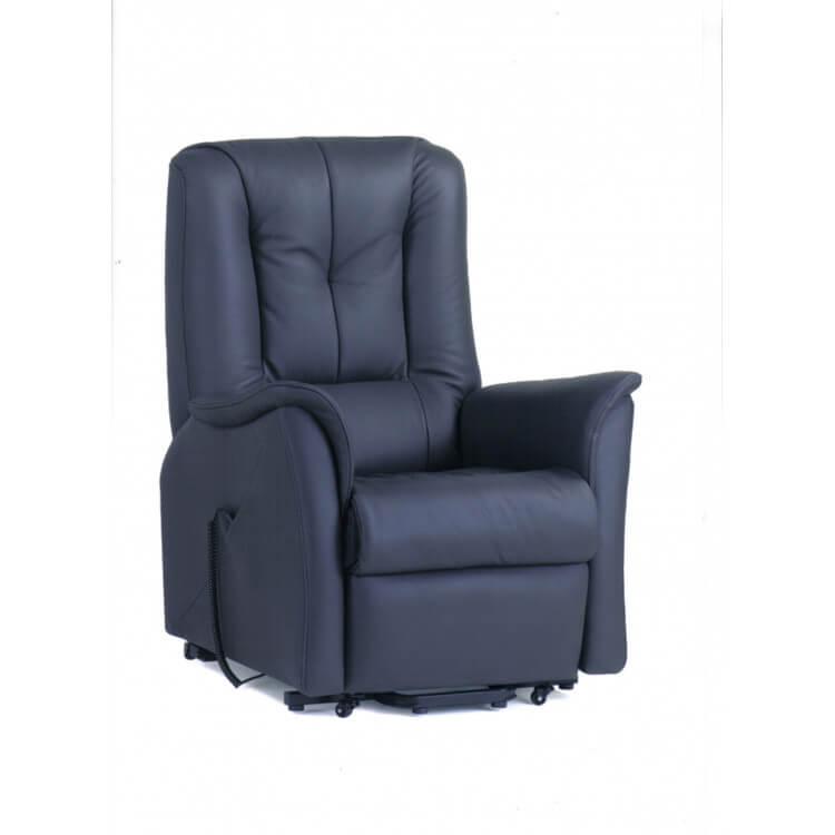 Fauteuil de relaxation électrique avec releveur en cuir noir Prestige