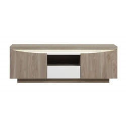 Meuble TV contemporain coloris memphis oak/blanc Barry