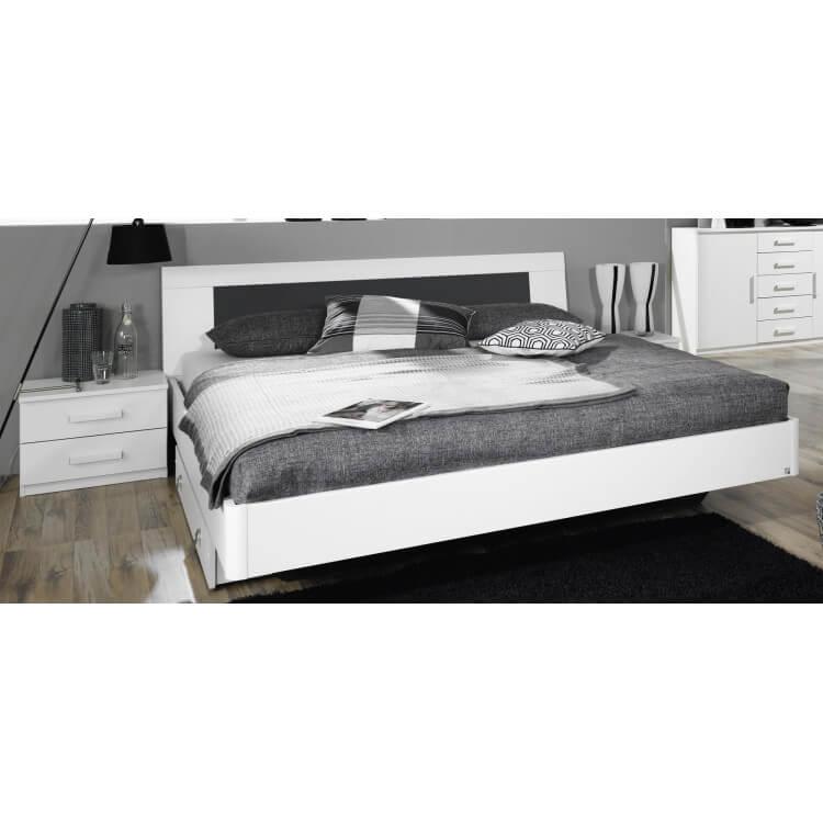 Lit adulte design avec chevets coloris blanc Carcassonne