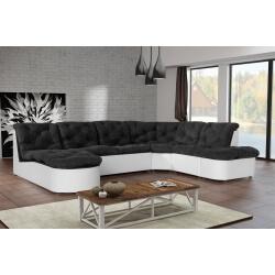 Canapé d'angle modulable en tissu noir/blanc Cordoba