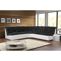 Canapé d'angle modulable en tissu noir/blanc Gisela