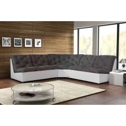 Canapé d'angle modulable en tissu gris/blanc Gisela