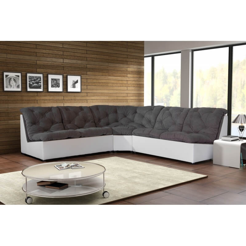 canap d 39 angle modulable en tissu gris blanc gisela matelpro. Black Bedroom Furniture Sets. Home Design Ideas
