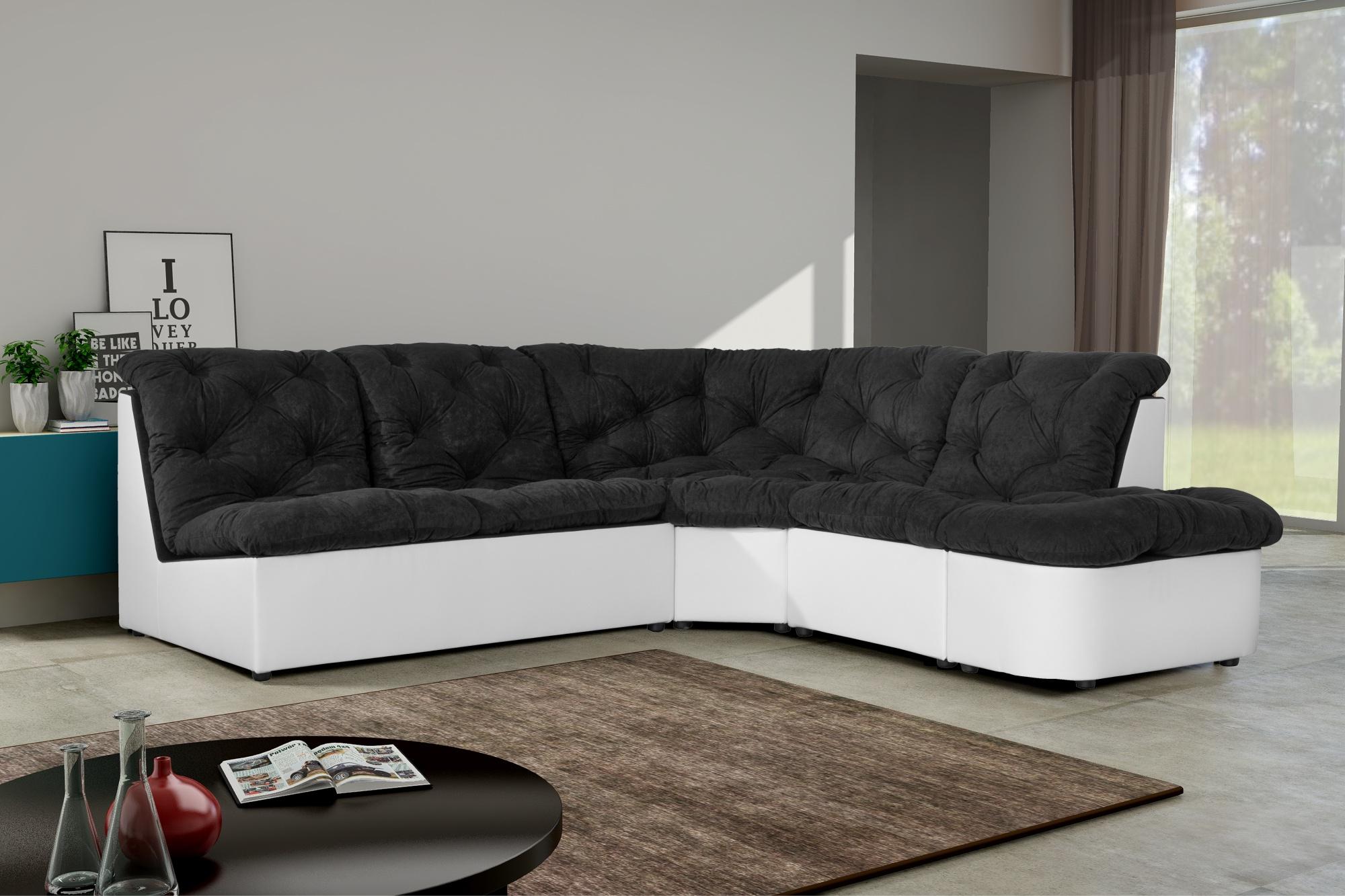 Canapé d'angle modulable en tissu noir/blanc Daniela