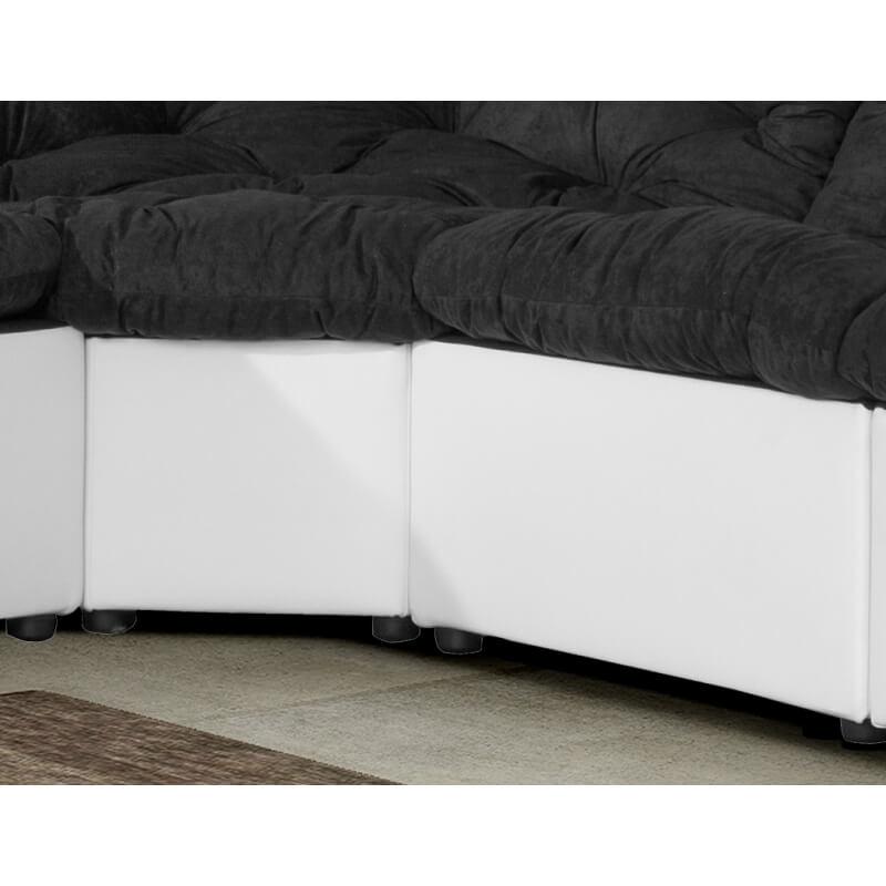 canap d 39 angle modulable en tissu noir blanc daniela matelpro. Black Bedroom Furniture Sets. Home Design Ideas