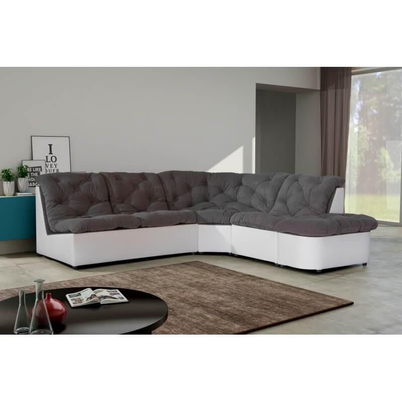 canap d 39 angle modulable en tissu gris blanc daniela matelpro. Black Bedroom Furniture Sets. Home Design Ideas