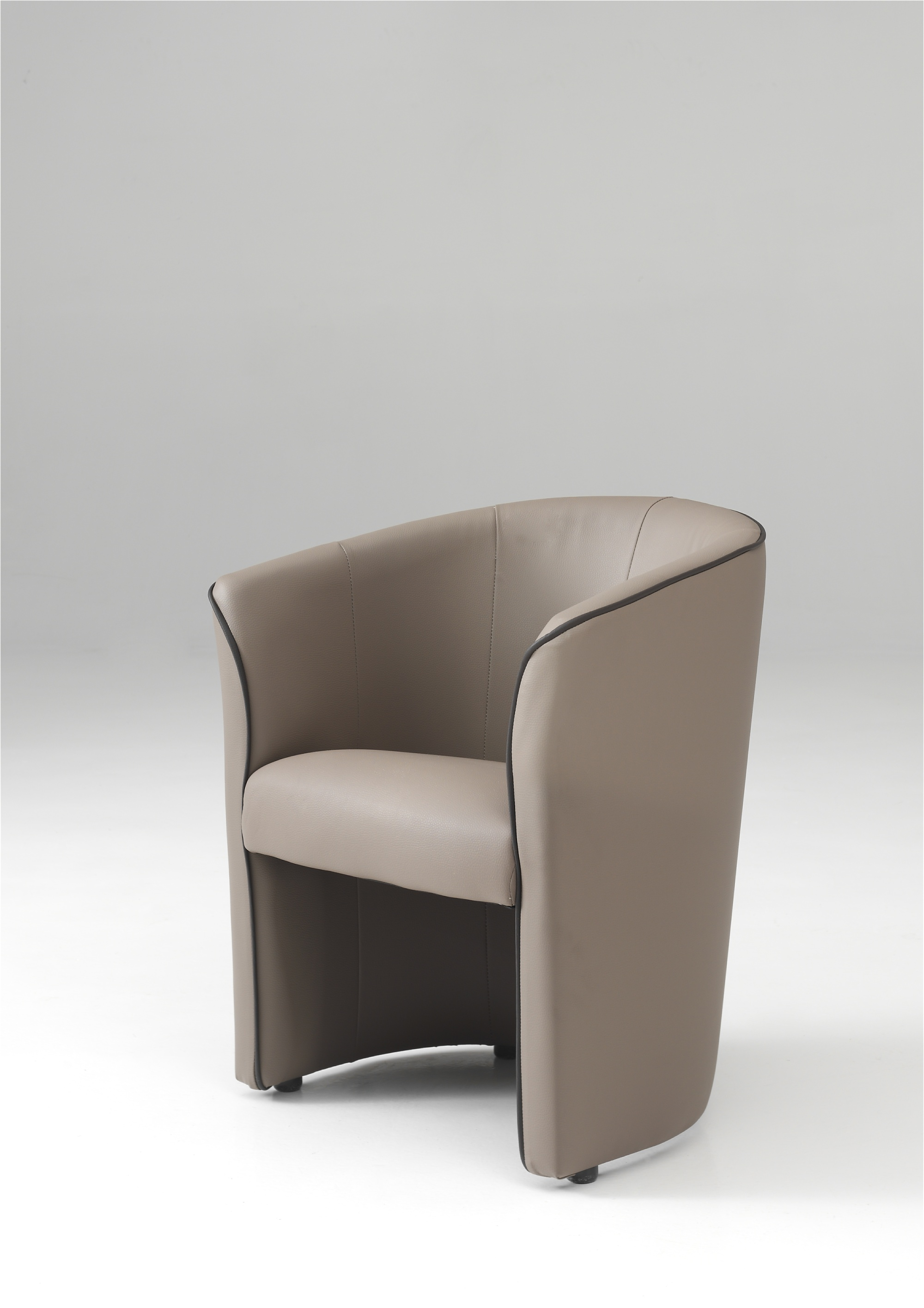 Fauteuil cabriolet moderne en PU taupe Cyrille