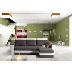 Canapé d'angle convertible réversible microfibre coloris gris/blanc Vera