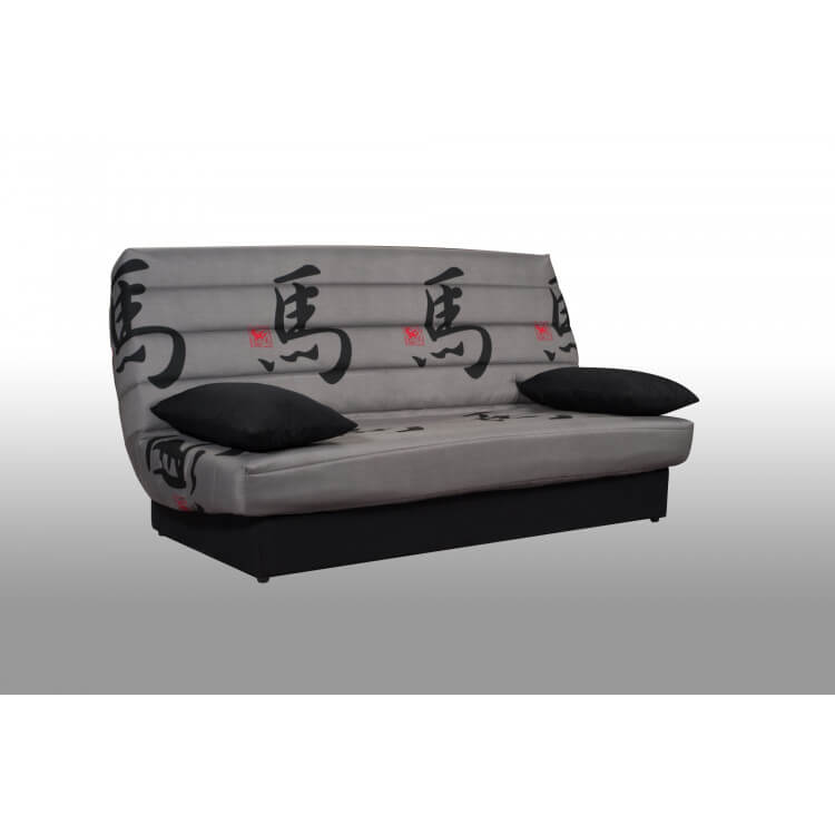 Canapé clic-clac noir/imprimé Okito