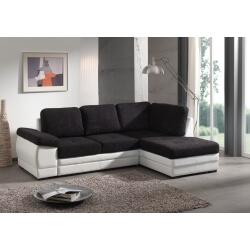 Canapé d'angle contemporain convertible en tissu coloris noir/blanc Leone