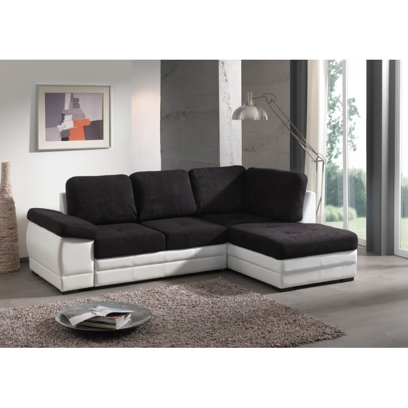 canap d 39 angle contemporain convertible en tissu coloris noir blanc leone matelpro. Black Bedroom Furniture Sets. Home Design Ideas