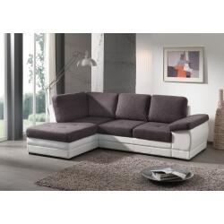 Canapé d'angle contemporain convertible en tissu coloris gris foncé/blanc Leone