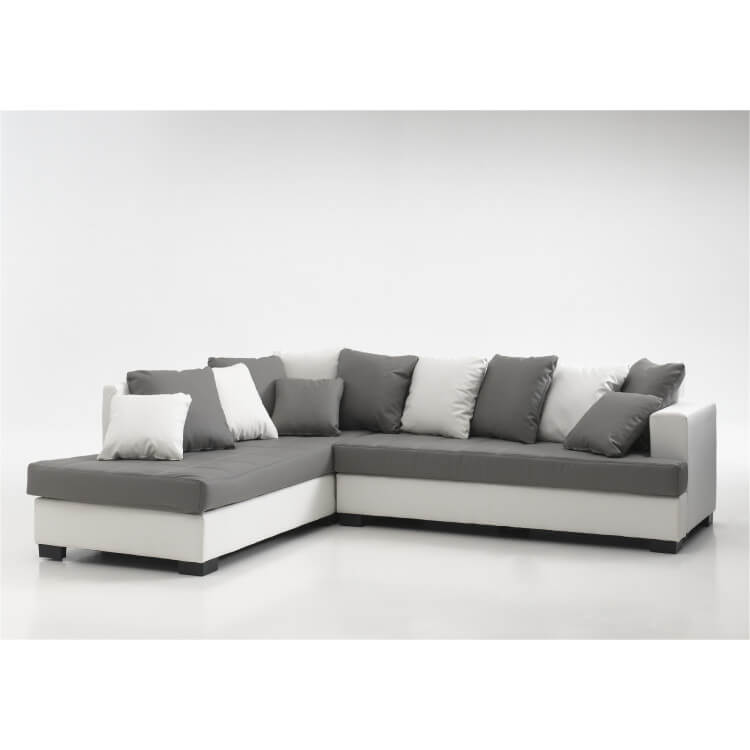 Canapé d'angle design en PU gris/blanc Eros