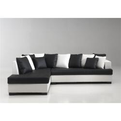 Canapé d'angle design en PU noir/blanc Eros
