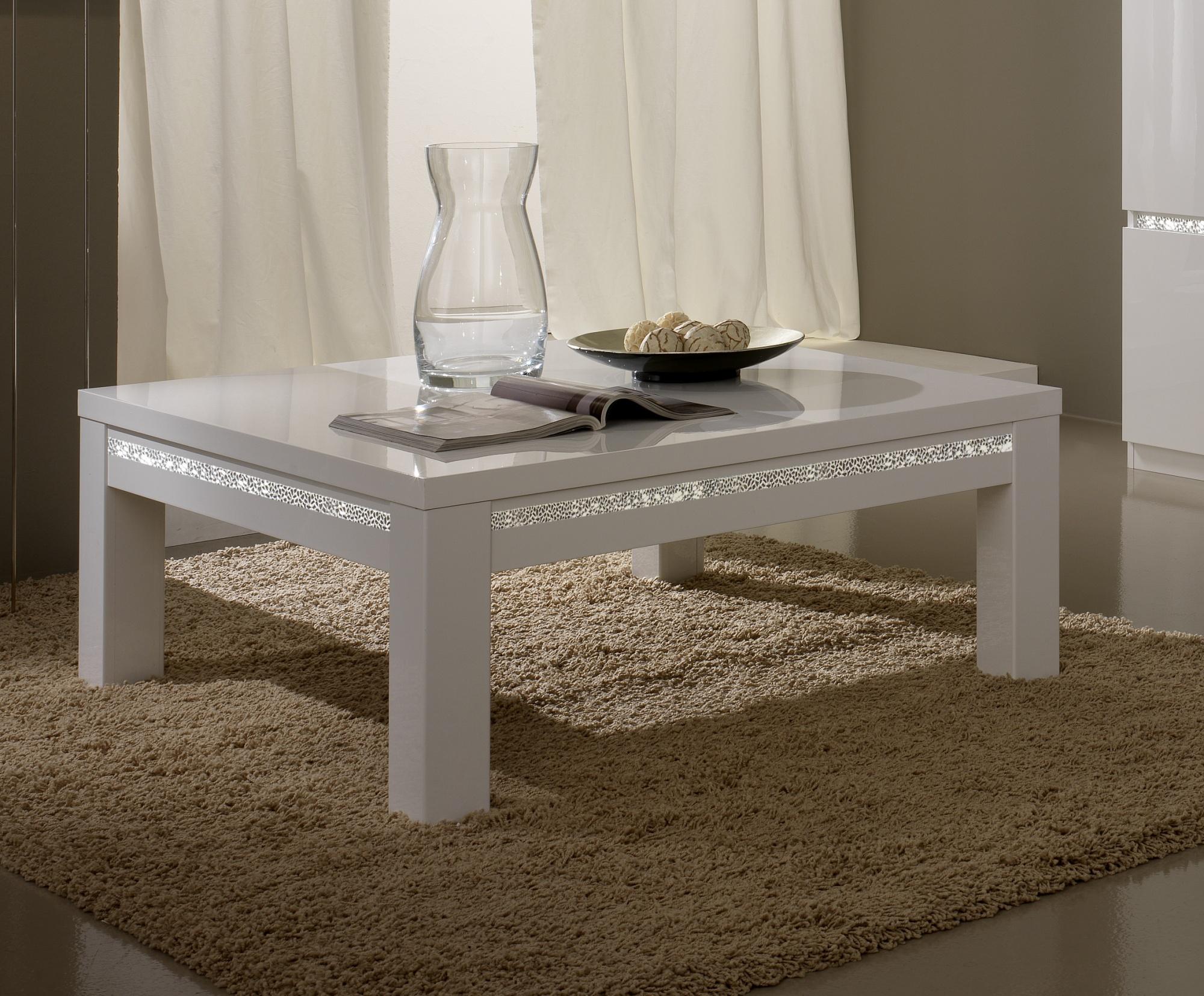 Table basse carrée design laquée blanche Medusa