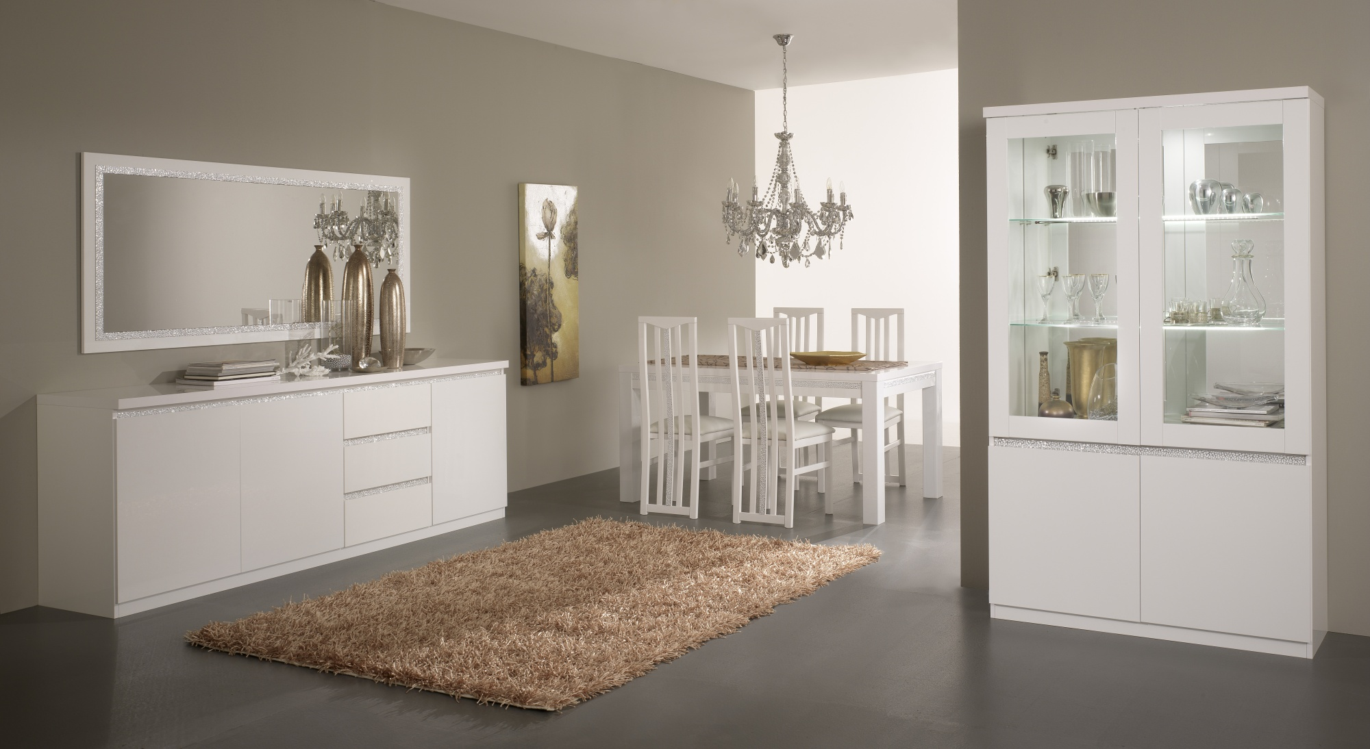 Salle à manger design laquée blanche Medusa