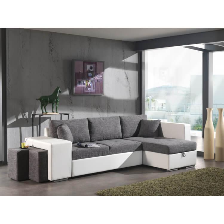 canap d 39 angle convertible avec pouf en tissu gris pu blanc yanis matelpro. Black Bedroom Furniture Sets. Home Design Ideas