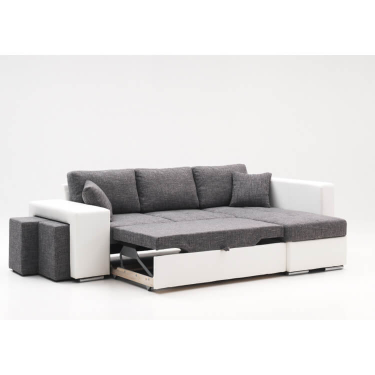 canap d 39 angle convertible avec pouf en tissu gris pu blanc yanis matelpro. Black Bedroom Furniture Sets. Home Design Ideas