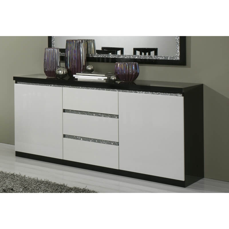 buffet bahut design 2 portes 3 tiroirs laqu noir et blanc isabella matelpro. Black Bedroom Furniture Sets. Home Design Ideas