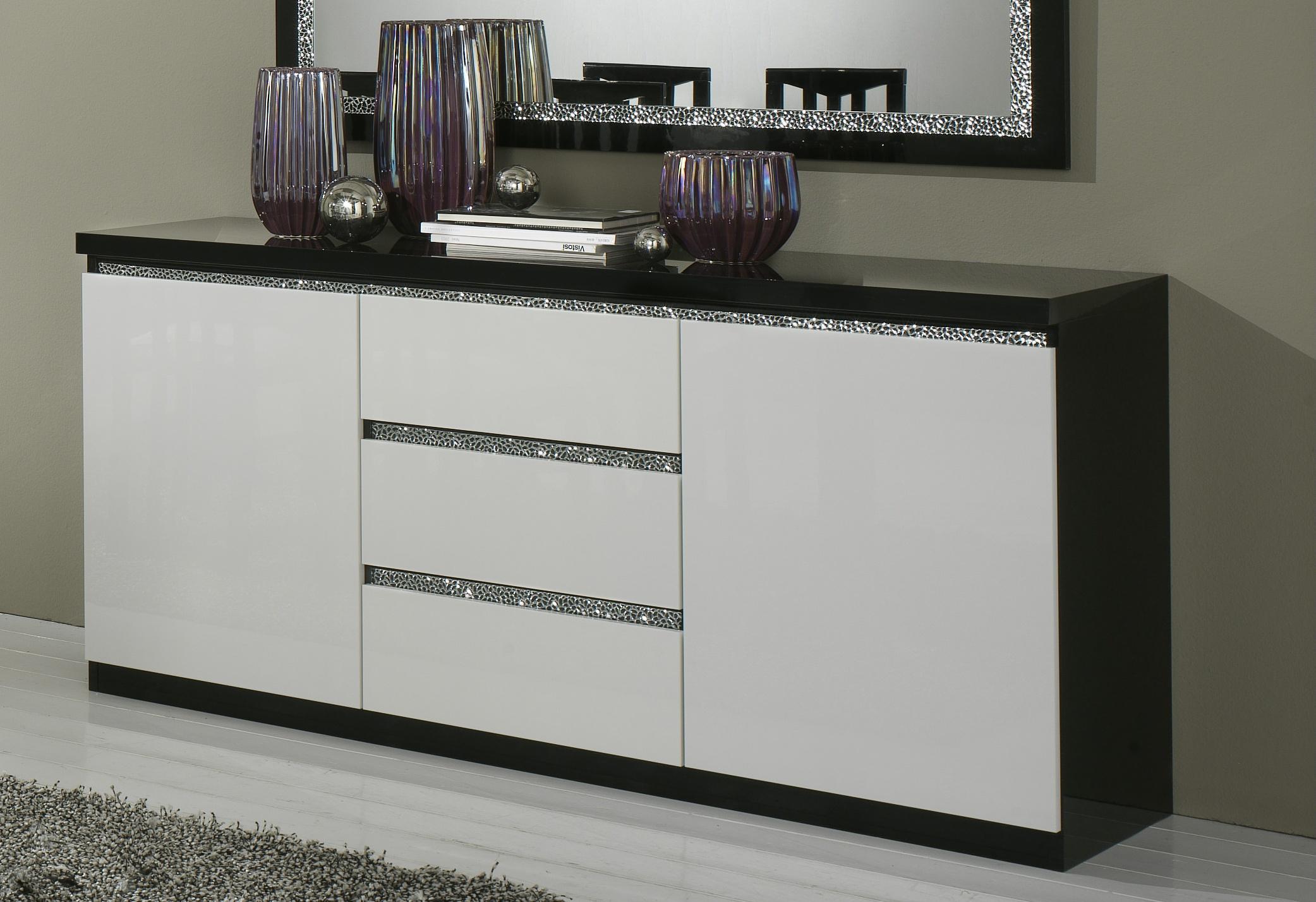 Buffet/bahut design 2 portes/3 tiroirs laqué noir et blanc Isabella