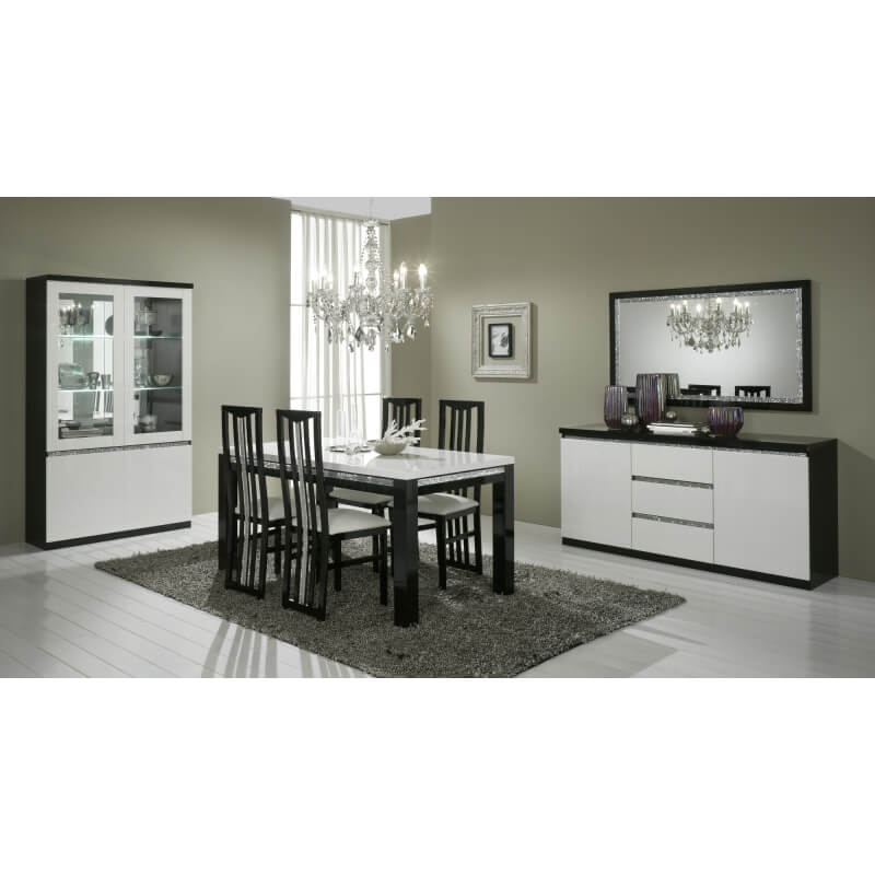 buffet bahut design 2 portes 3 tiroirs laqu noir et blanc. Black Bedroom Furniture Sets. Home Design Ideas