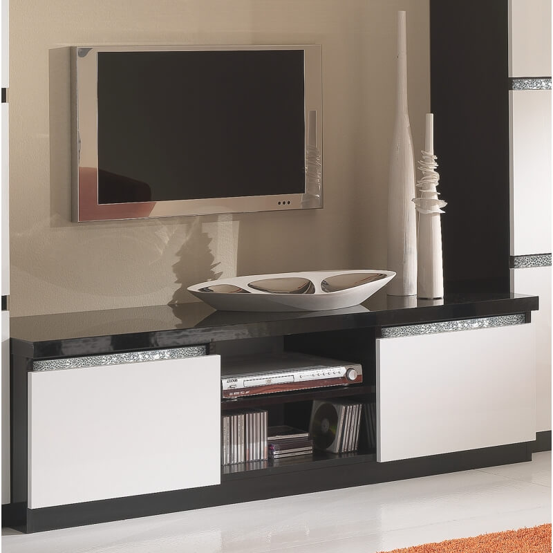 meuble tv design laqu noir et blanc isabella matelpro. Black Bedroom Furniture Sets. Home Design Ideas