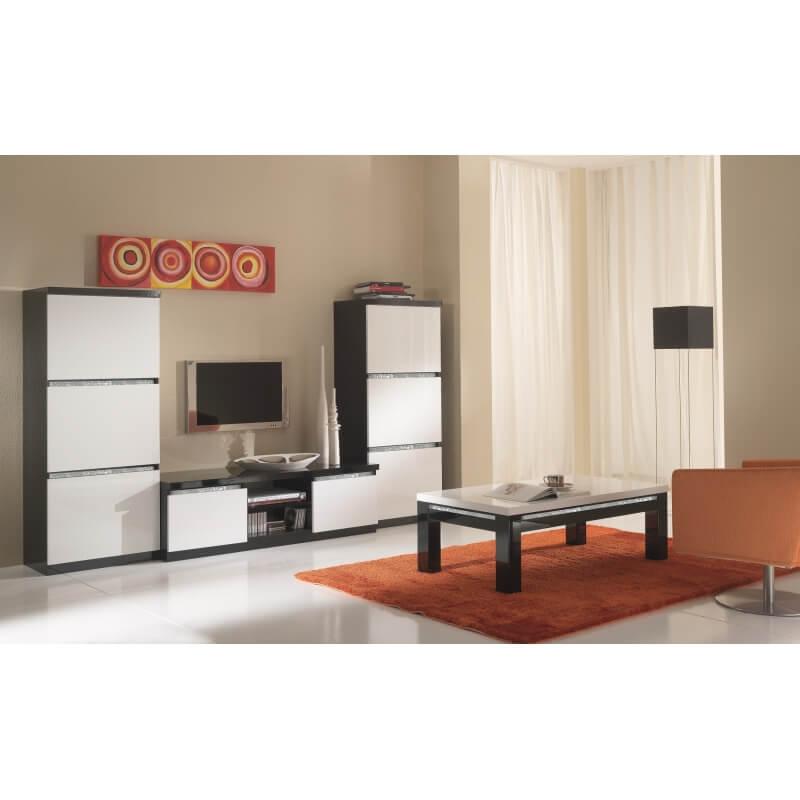 Meuble tv design laqu noir et blanc isabella matelpro - Meuble laque blanc et noir ...