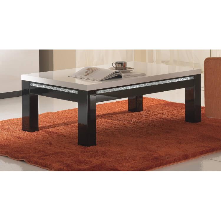 Table basse rectangulaire laquée noire et blanche Isabella