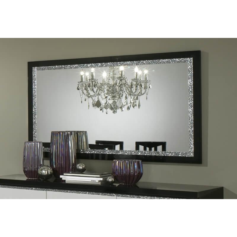 Miroir de salle manger design 140 cm laqu noir isabella - Miroir 140 cm ...