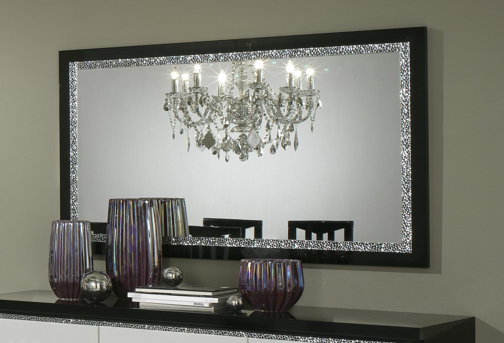 Miroir de salle à manger design 140 cm laqué noir Isabella