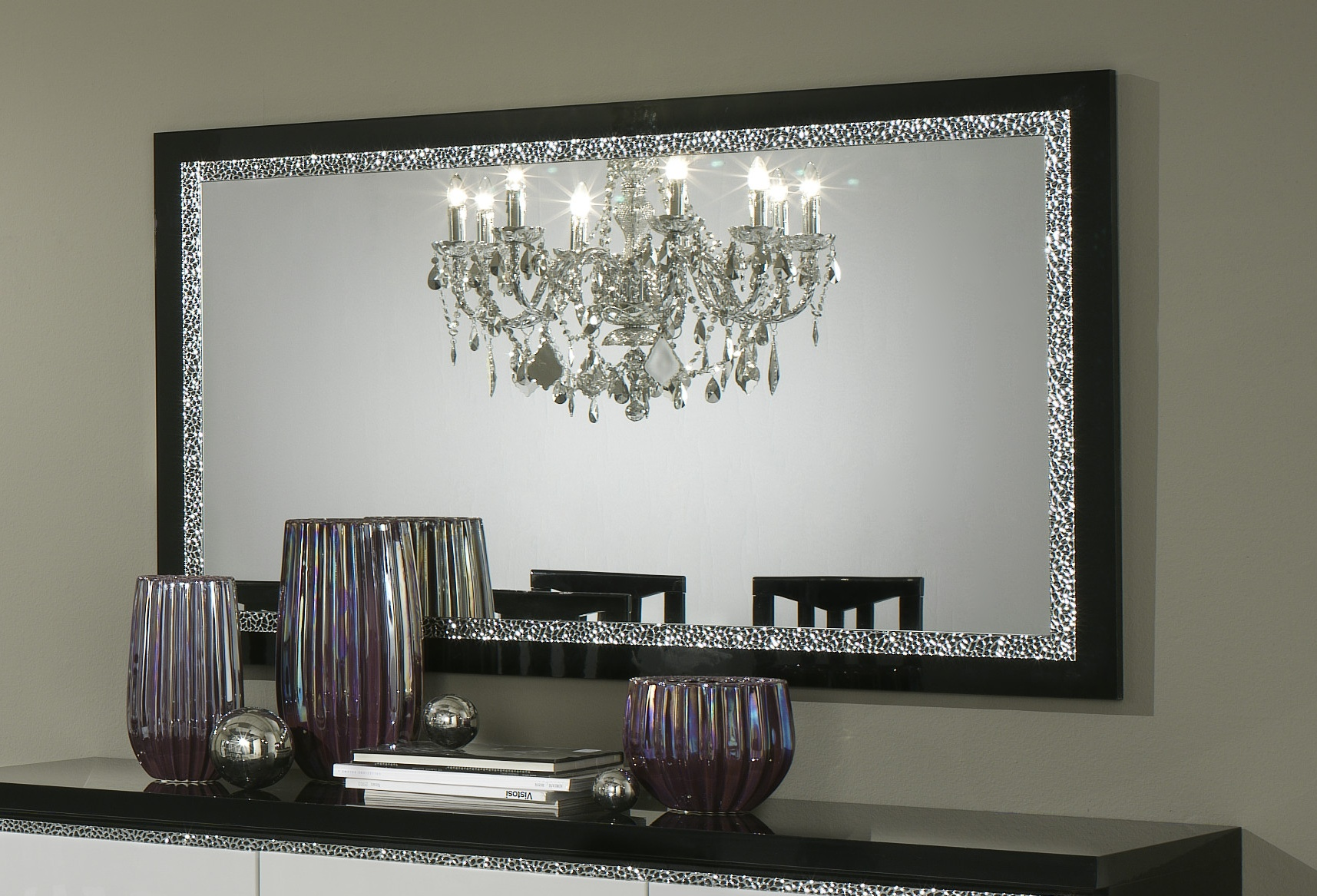 miroir de salle manger design 180 cm laqu noir isabella. Black Bedroom Furniture Sets. Home Design Ideas