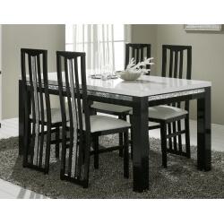Table de salle à manger design laquée noire et blanche Isabella
