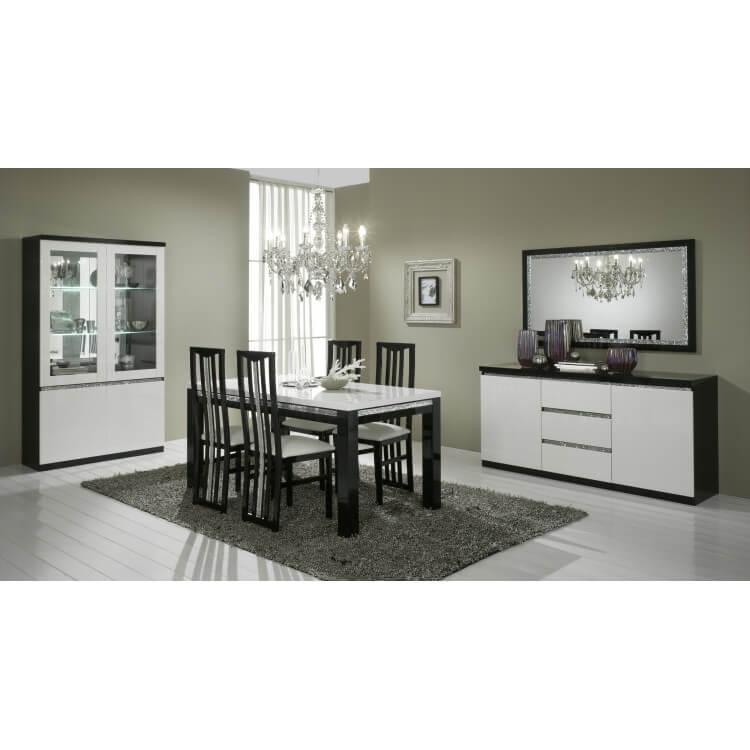 Salle à manger design laquée noire et blanche Isabella | Matelpro