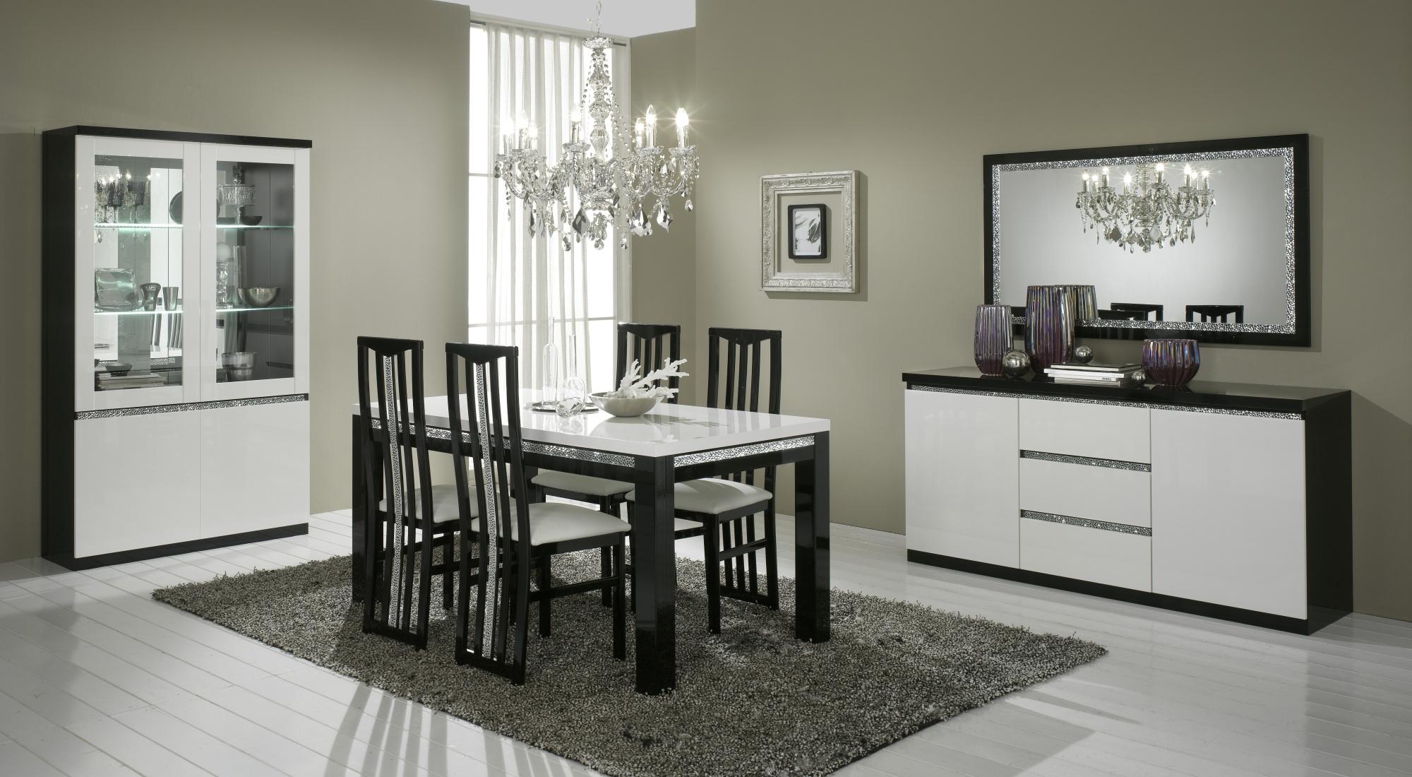 Salle à manger design laquée noire et blanche Isabella