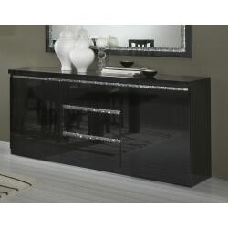 Buffet/bahut design laqué noir Melvine