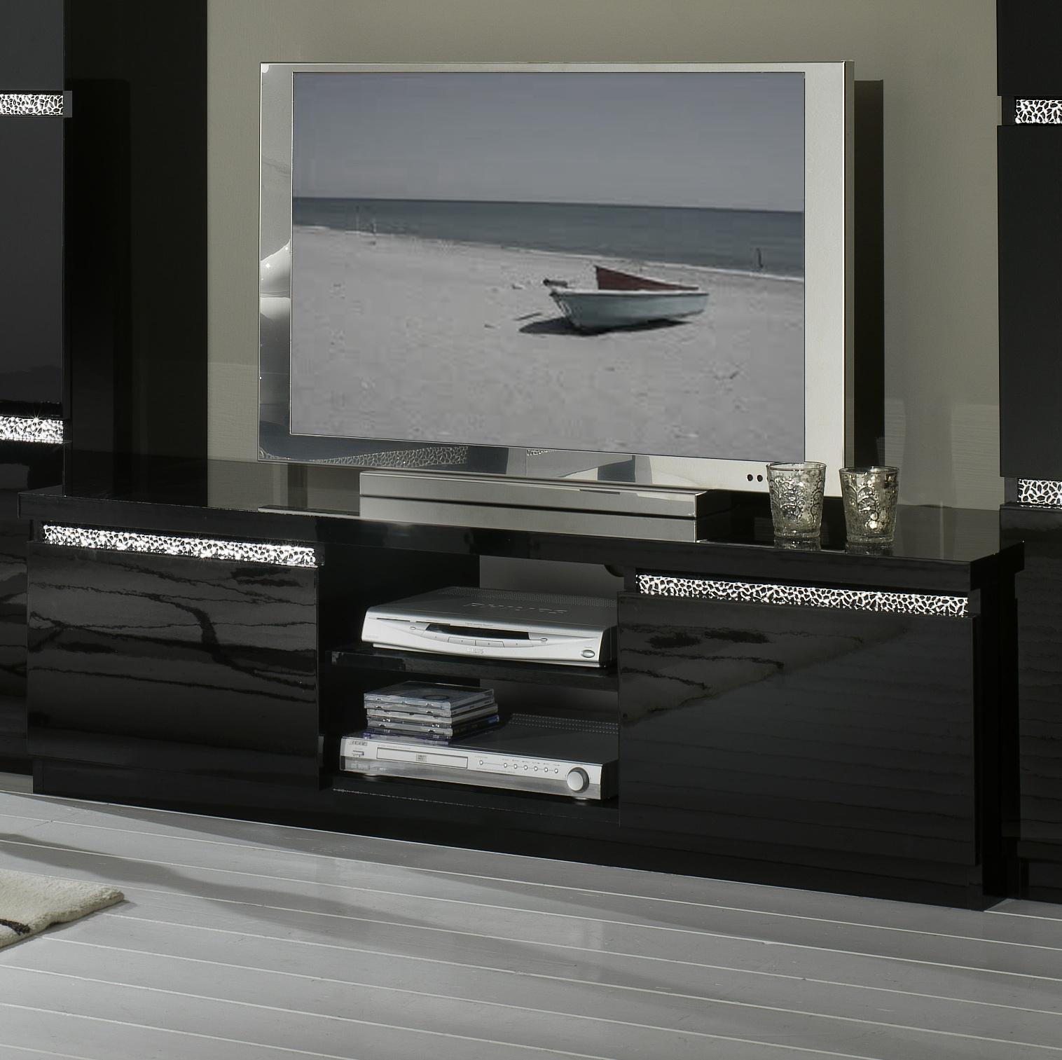 Meuble TV design laqué noir Melvine