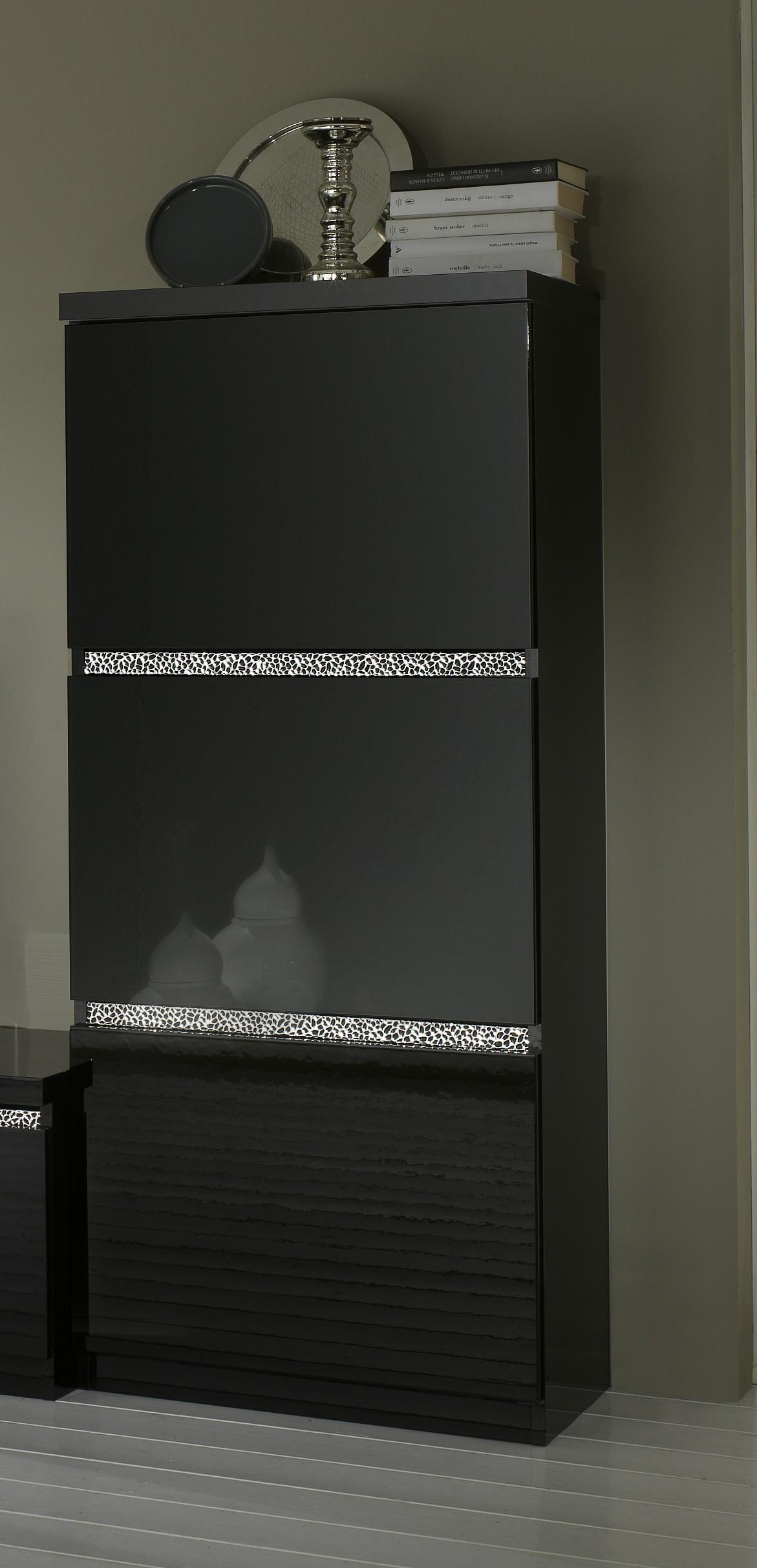 Colonne design 1 porte laquée noire Melvine